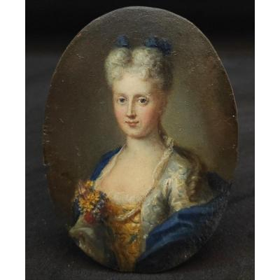 French School Around 1700, Portrait Of Woman, Oil On Copper