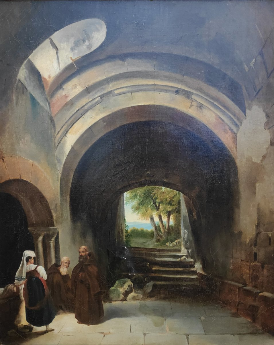 Follower Of Marius Granet (1775-1849), Monks And Women In An Abbey Oil On Canvas XIX.