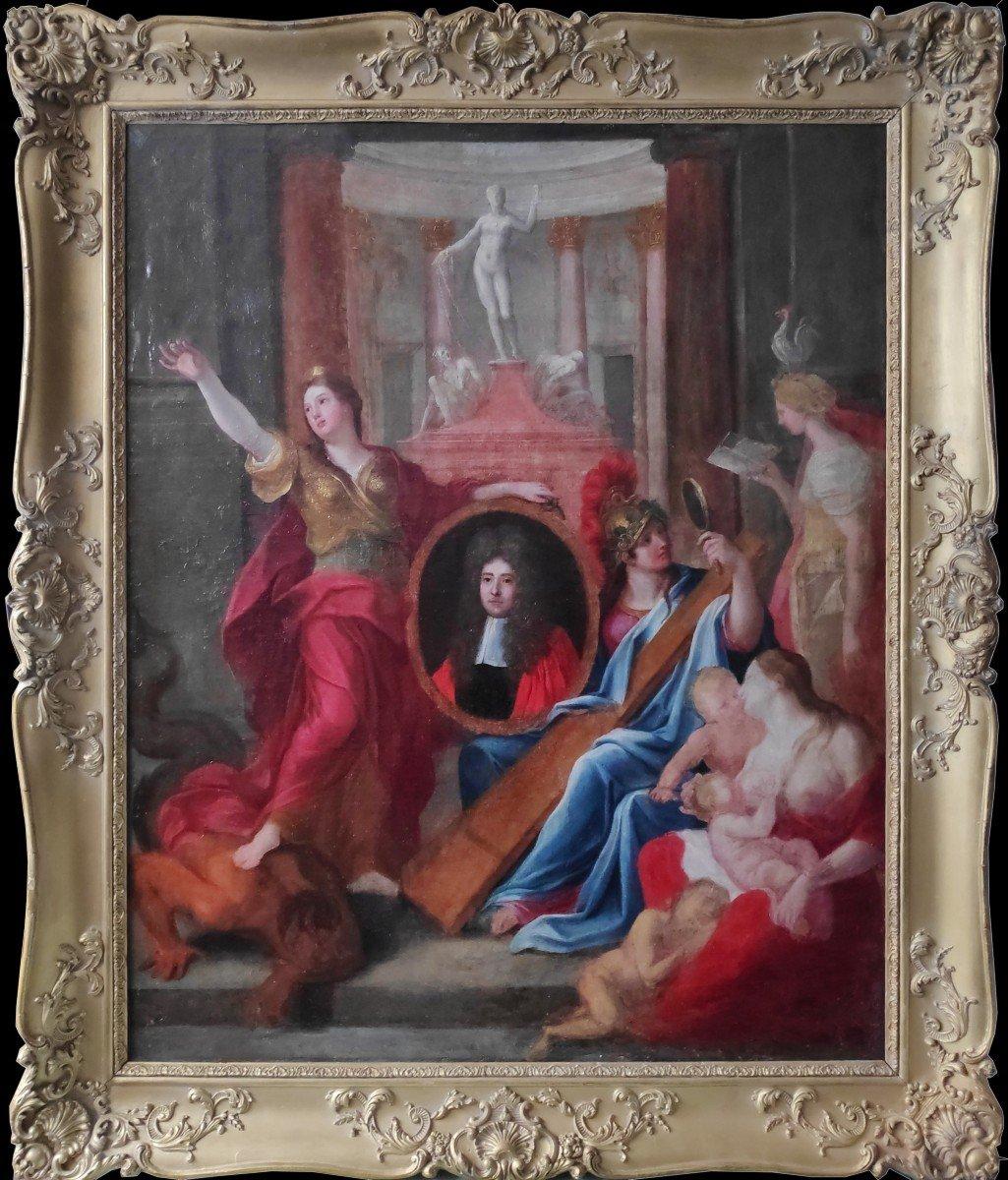 Rare Portrait Allégorique d'Un Parlementaire Du XVIIème Siècle