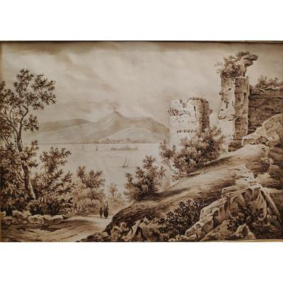 Vue De La Baie De Naples Avec Le Vésuve, Du XIXème Siècle, Lavis d'Encre