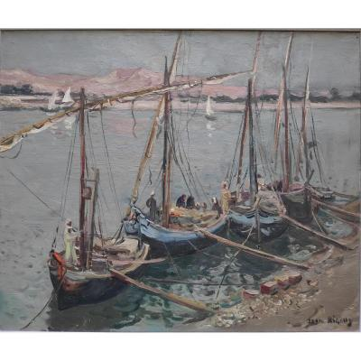 Jean Rigaud (1912-1999), Boats In Luxor, Oil On Canvas