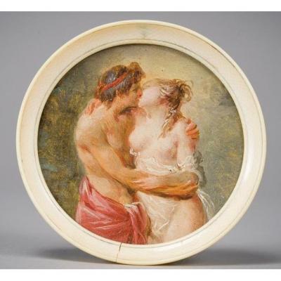 Miniature Dans l'Entourage De Fragonard , Le Baiser