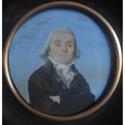 Miniature Louis XVI Period, Portrait Of A Man On Sky Background