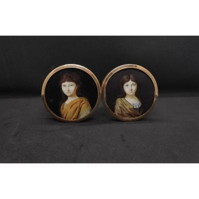 Double Miniature Portraits Of Young Girls, On Blonde Tortoise Snuff Box, 18k Gold Frame