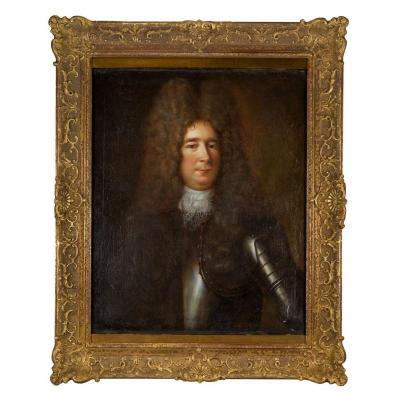 Entourage Robert Levrac-tournières (1667-1752), Portrait Of A Man In Armor