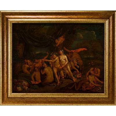 Frans Bartholomeus Douven (1688-1726), Bacchanale, Oil On Panel.