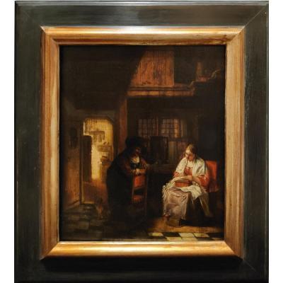 19th Century Dutch School, Interior Scene, Oil On Panel