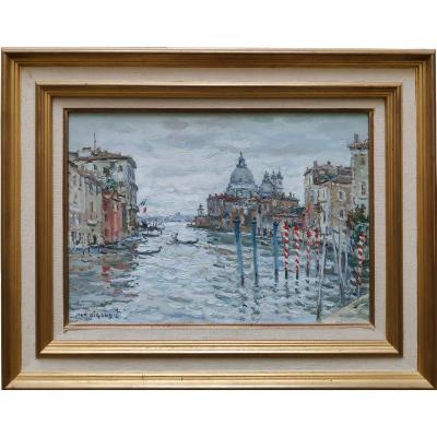 Jean Rigaud (1912-1999), View Of La Salute In Venice, Oil On Canvas