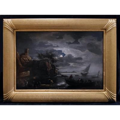 Joseph Vernet (1714-1789) Follower, Moonlight Scene, Oil On Canvas
