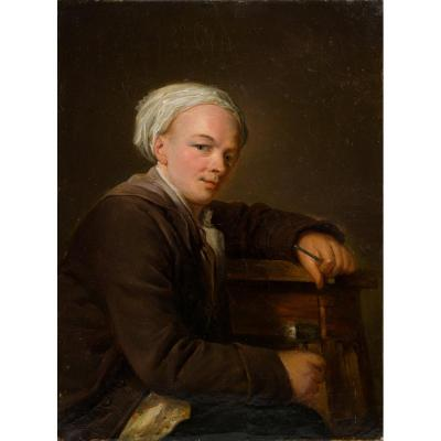 French School Of The Nineteenth In The Taste Of Lépicié (1735-1784), Portrait Of Sculptor