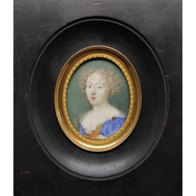 Miniature On Vellum, Portrait Of Woman Around 1620
