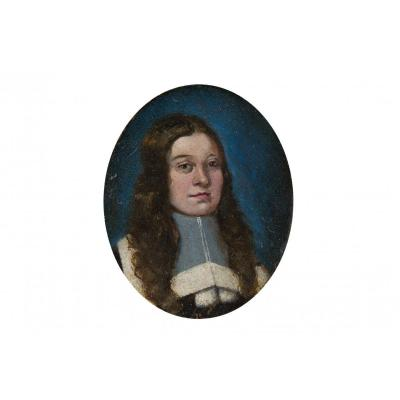 Miniature Of The XVIIth Century Portrait Of A Man On A Blue Background
