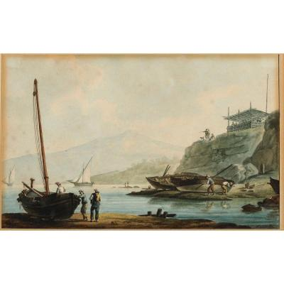 Antoine Roux (1799-1872), Animated Scene In Marseille, Watercolor