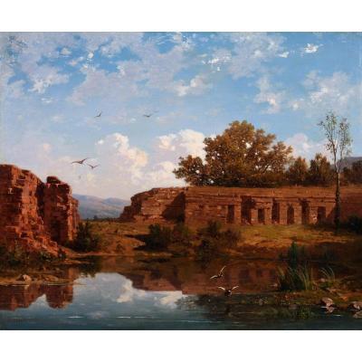 Antoine Claude Ponthus-cinier (1812-1885) - Ruins At The Water's Edge, Effect Of Noon
