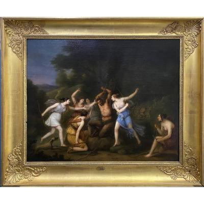 Jacques-antoine Vallin (1760 - 1831) Attributed, Le Tortice De Marsyas, Oil On Canvas