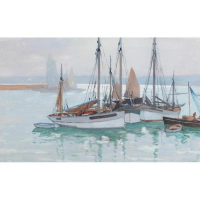 Paul Morchain (1876-1939), Boats At Anchorage, Gouache
