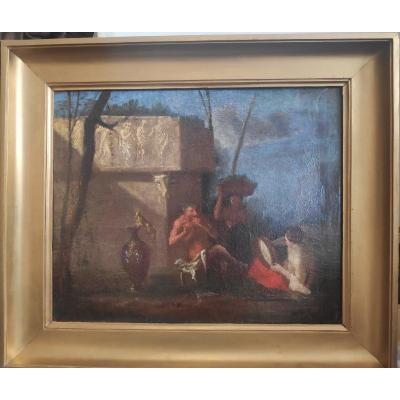 Entourage De Nicolas Poussin (1594-1665), Concert Du Dieu Pan, Huile Sur Toile XVIIème Siècle.
