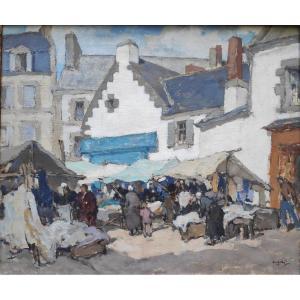 Georges Gobo (1876-1958), Scène De Marché à Douarnenez