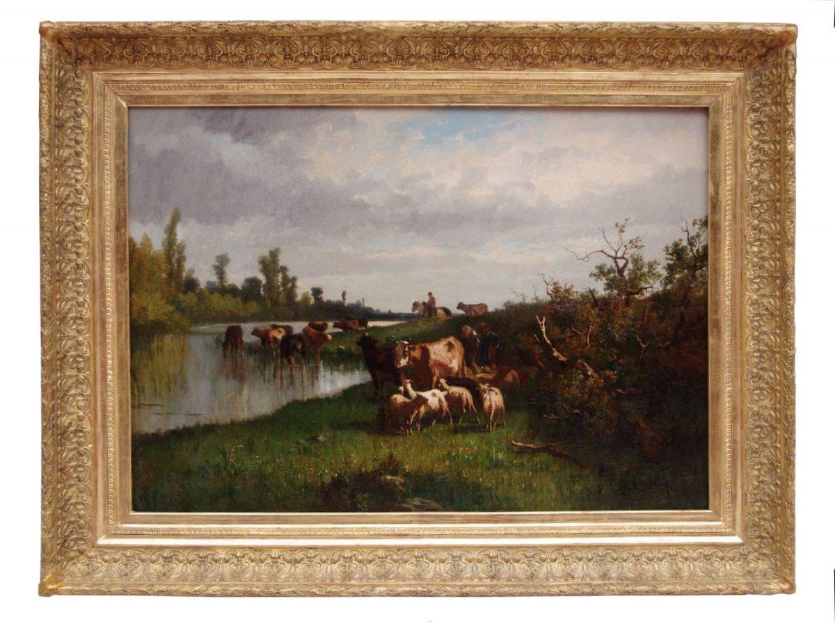 Antonio Cortes, Pastoral Scene, Oil On Canvas, 19th Century - Ls20311151