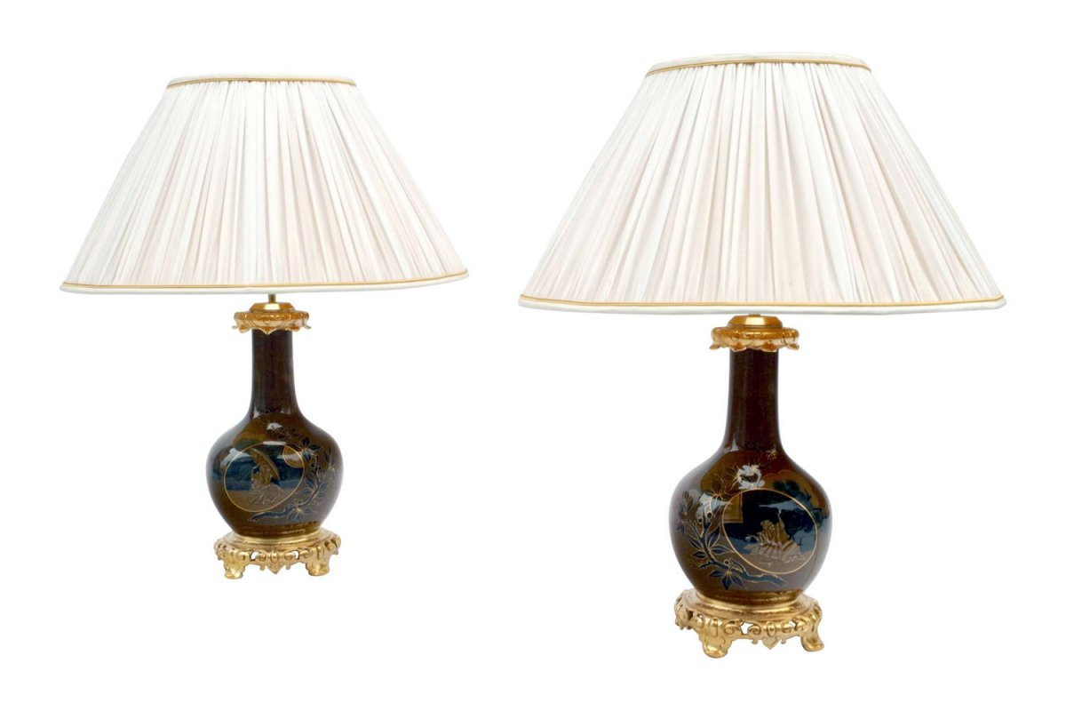 Pair Of Japanese Style Brown And Blue Porcelain Lamps, Late 19th Century - Ls3521