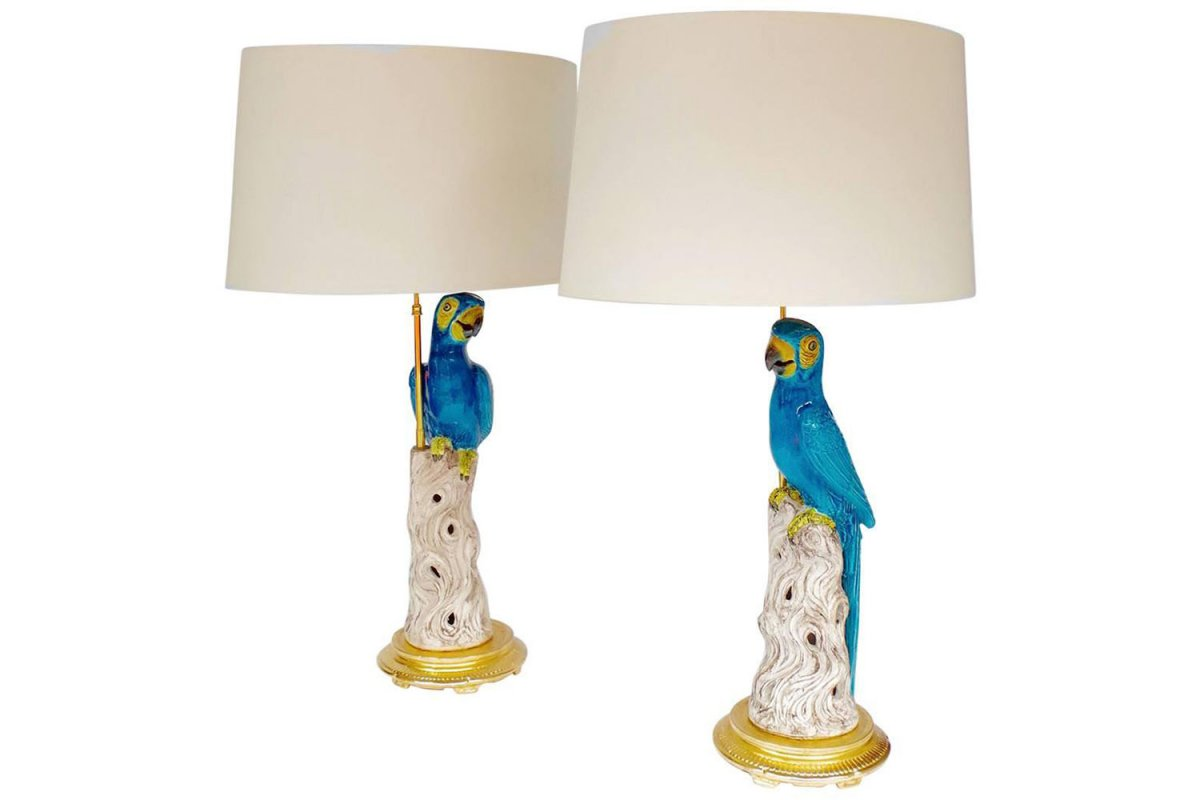 Paire de grandes lampes perroquets en faïence, circa 1970 - LS35451021