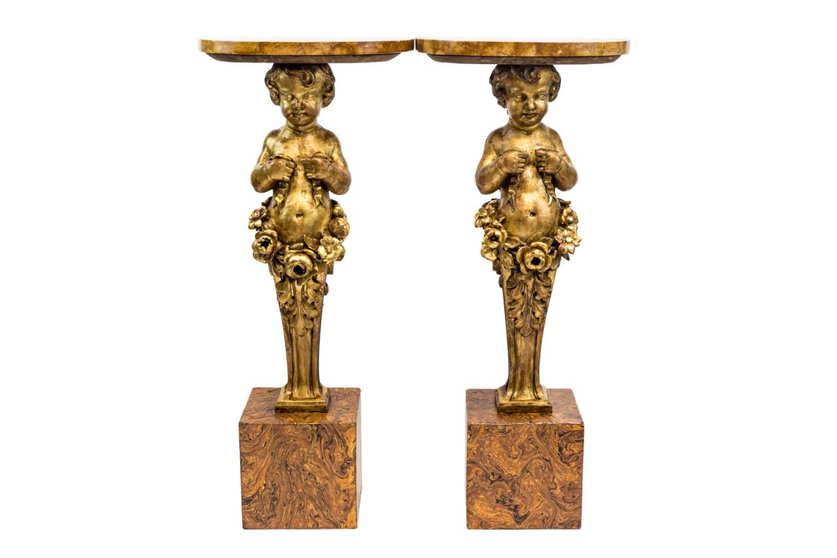 Pair Of Carved And Gilt Wood Putti Consols, Late 19th Century - Ls3530