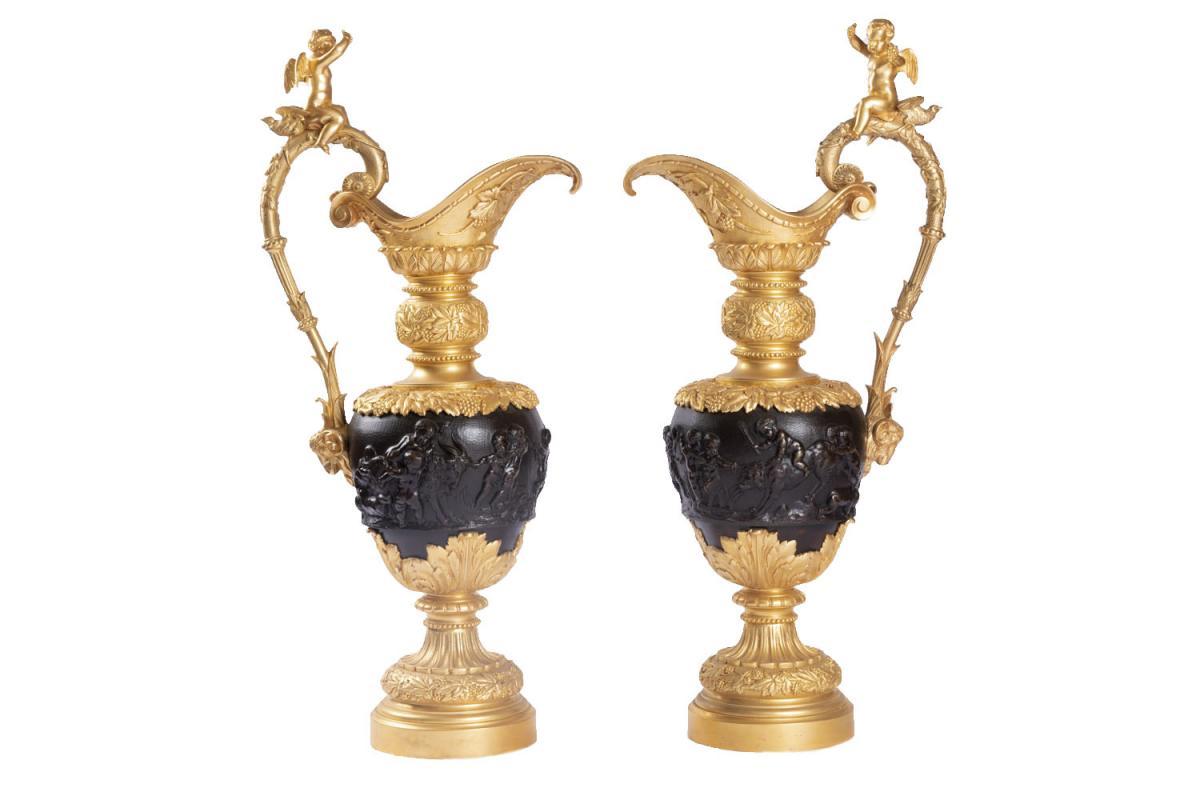 Clodion, Paire D'aiguières En Bronze à Deux Patines, Fin Du XIXème Siècle - LS14147851