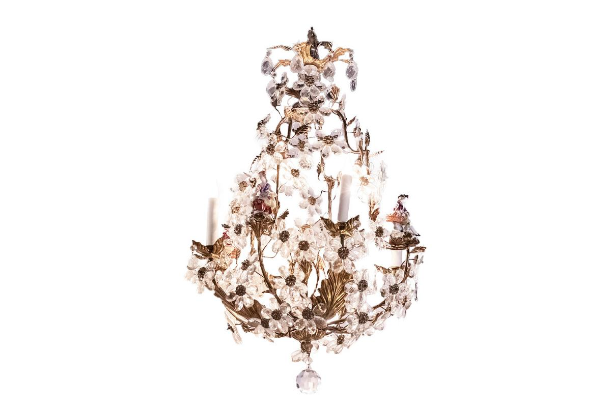 Capodimonte, Cage Chandelier In Crystal And Porcelain Characters, Circa 1900