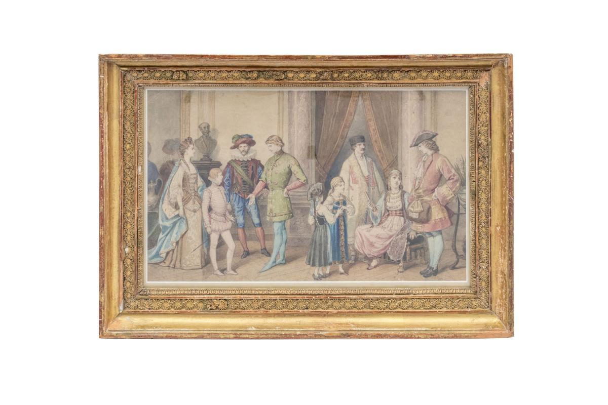 Aquarelle, « Scène De Bal Costumé », Cadre En Bois Doré, Vers 1850