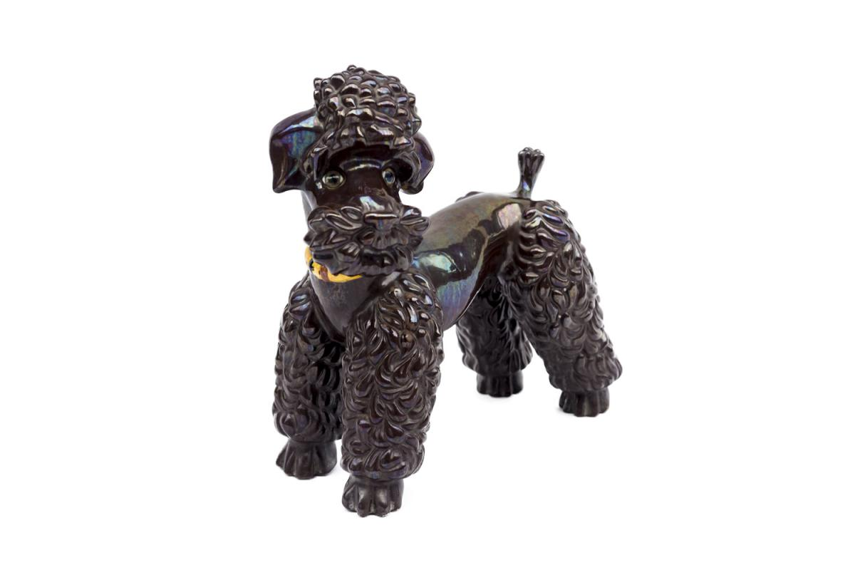 Iridescent Brown Earthenware Poodle Sculpture, 1940s - Ls3691251