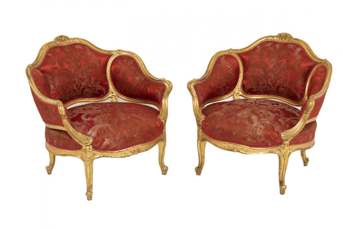 Pair Of Louis XV Style Low Bergeres Basket Shaped In Gilt Wood, Circa 1880