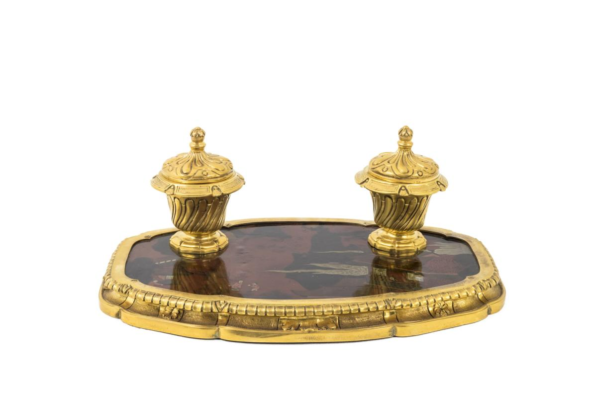 Gilt Bronze Inkwell With Chinese Style Lacquer,late 19th Century - Ls50