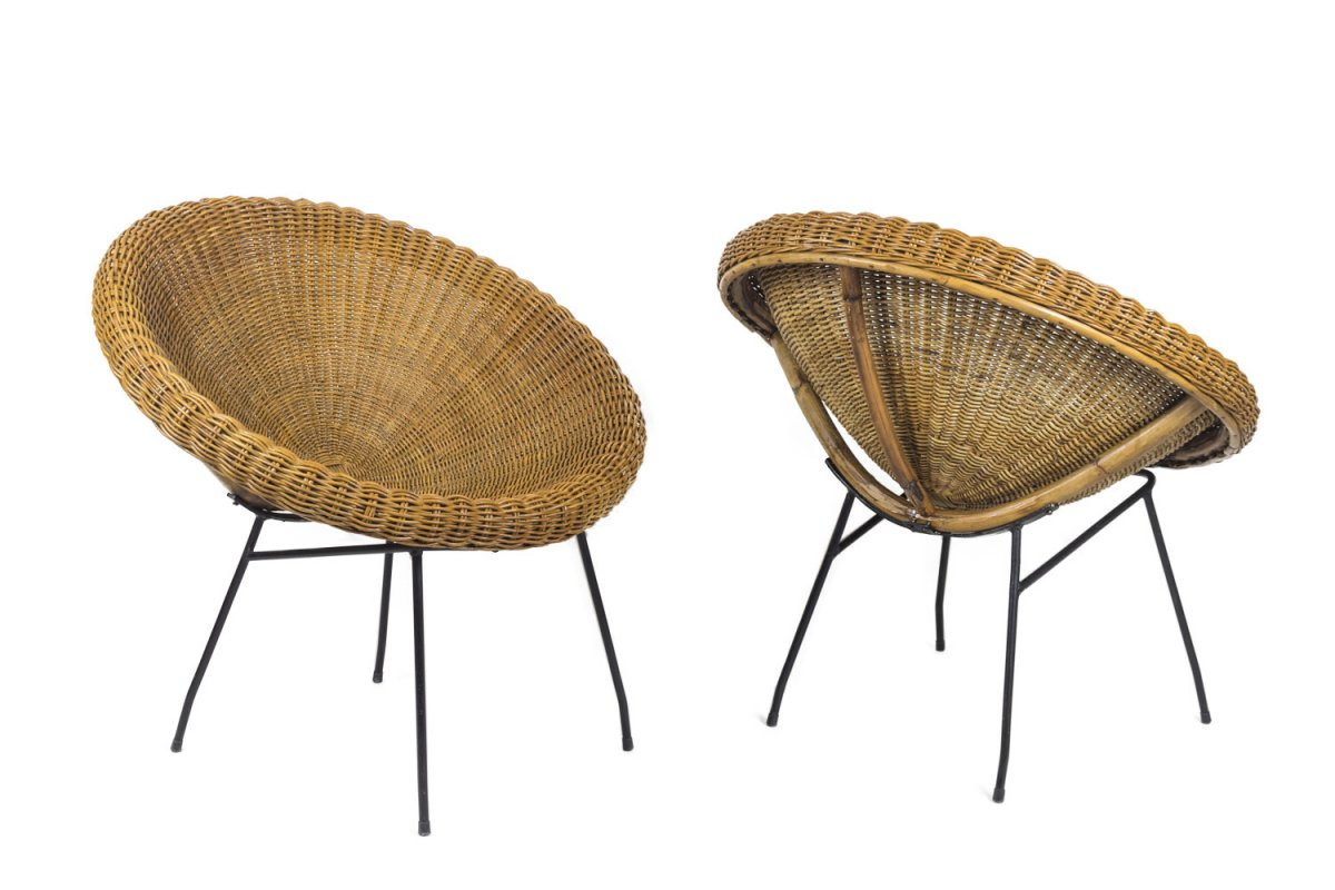 Pair Of Sun Chairs In Rattan And Black Metal, 1950's - Ls3953801