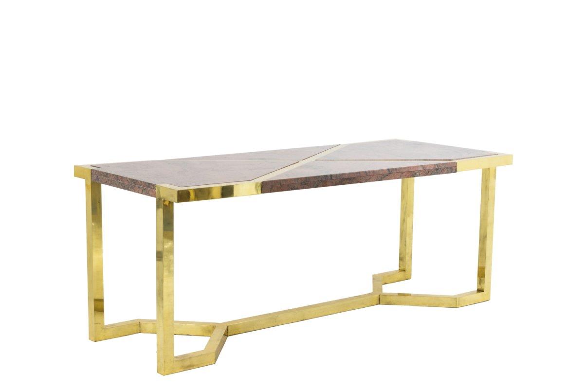 Table En Laiton Doré Et Granit Rose, Italie, Vers 1970 - LS41242351