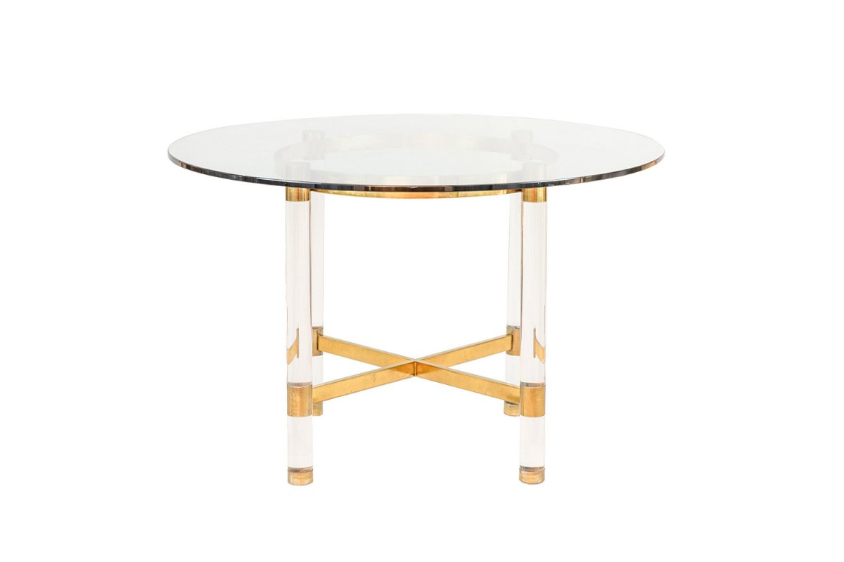 Sandro Petti, Table In Lucite And Gilt Brass, 1970's - Ls4156901