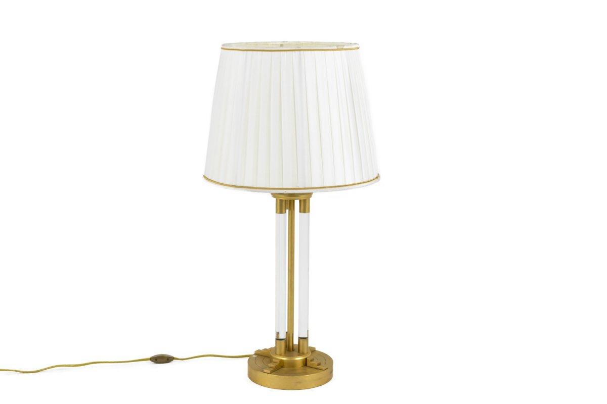 Lampe En Lucite Et Bronze Doré, Années 1940 - LS1936