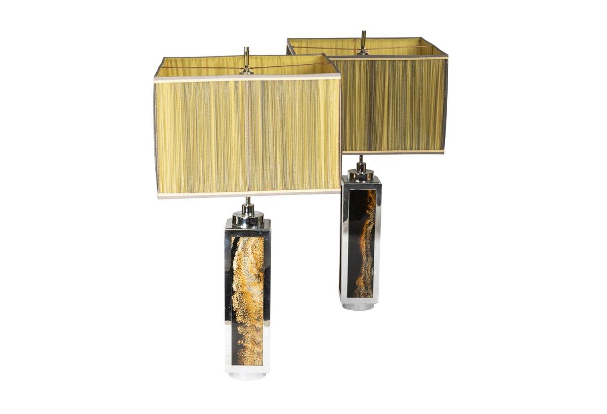 Pair Of Lamps In Bakelite And Chromed Metal, 1970's - Ls4027