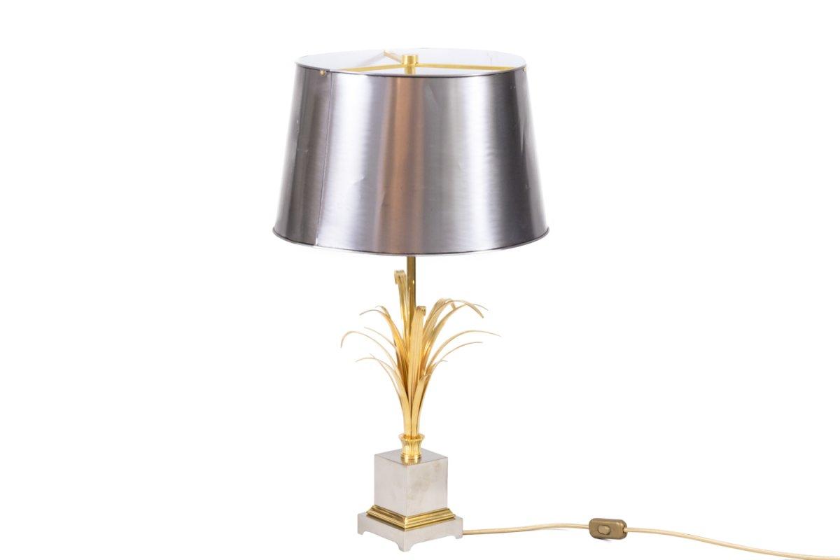 Maison Charles, Lampe Roseaux En Bronze Doré Et Argenté, Années 1970 - Ls4183551