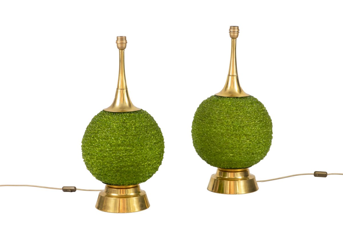 Pair Of Lamps In Green Lucite And Gilt Brass, 1970's - Ls4169
