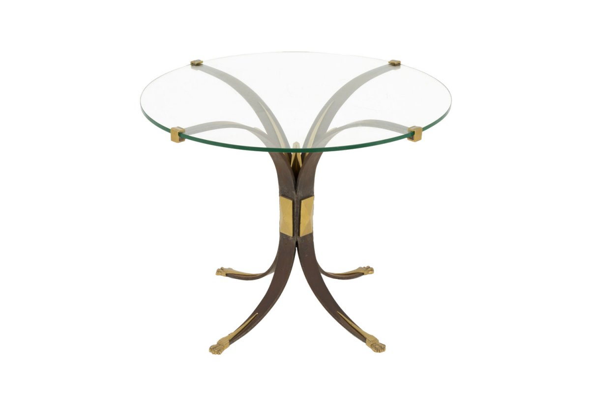 Stand In Patinated Metal, Gilt Bronze And Glass, 1970's - Ls3797421