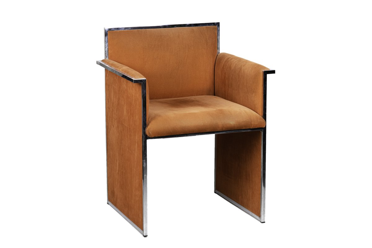 Armchair In Chromed Metal And Orange Suede, 1970s - Ls4155151