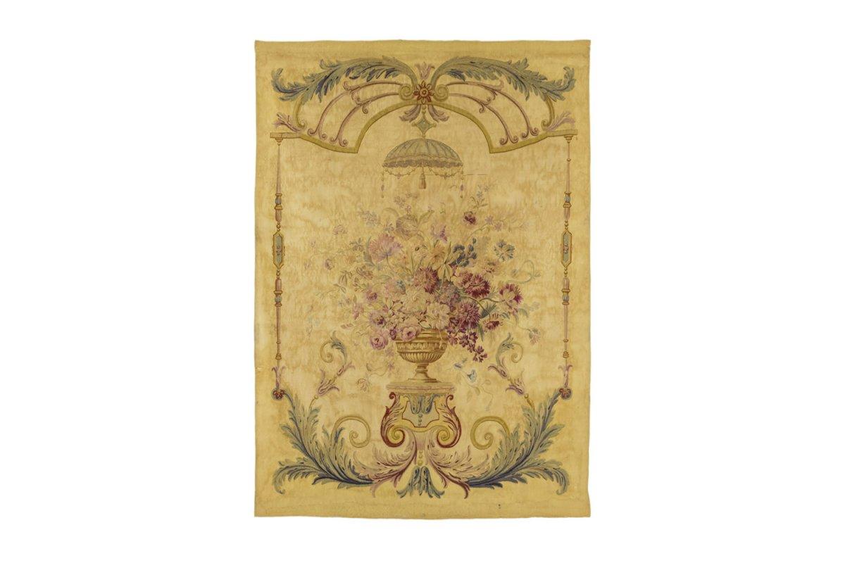 Tapisserie D'aubusson Au Vase De Fleurs, XIXe Siècle - Ls4019801