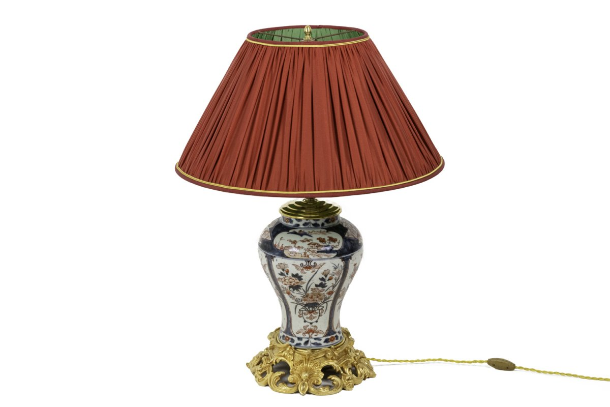 Lamp In Imari Porcelain And Gilt Bronze, Circa 1880- Ls439