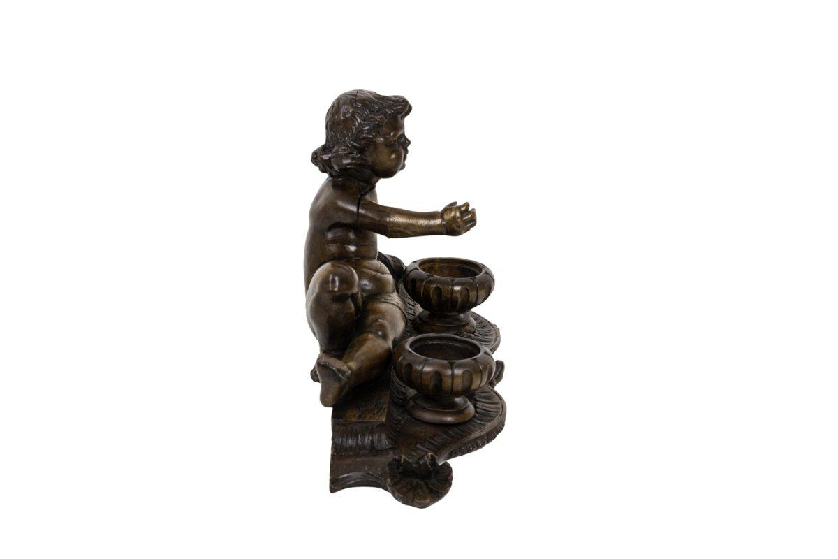 Encrier En Bois Figurant Un Enfant, XIXe Siècle - Op445151-photo-4