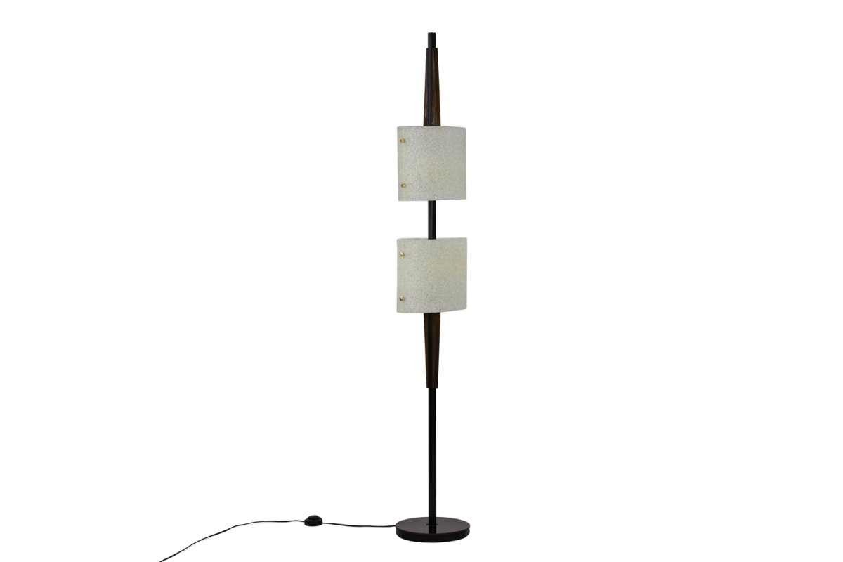 Floor Lamp In Granite Resin And Wood, 1950's - Ls4213521