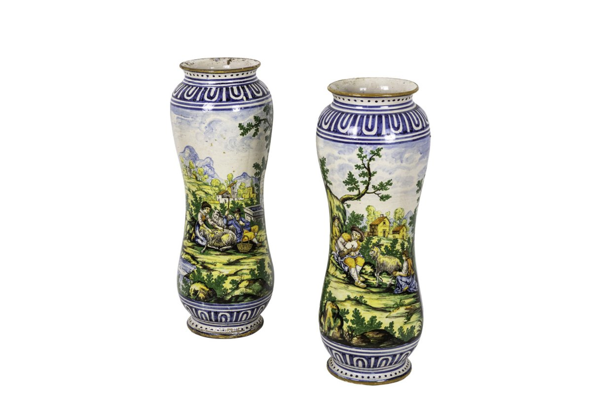 Pair Of Large Vases In Polychrome Earthenware, 19th Century - Op482