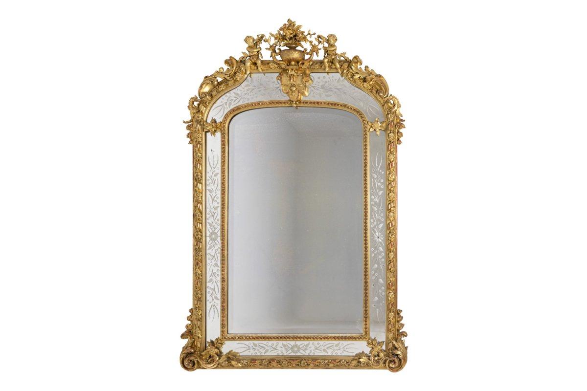 Grand Miroir Style Louis XVI à Parcloses En Bois Doré, Circa 1880 - Ls42292401