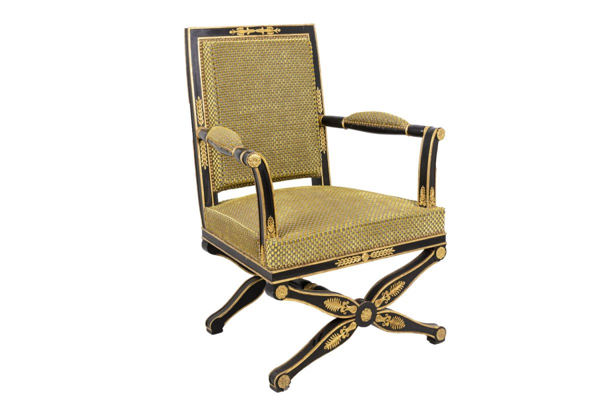 Black And Gilt Lacquered Empire Style Armchair, Circa 1900 - Ls27441001