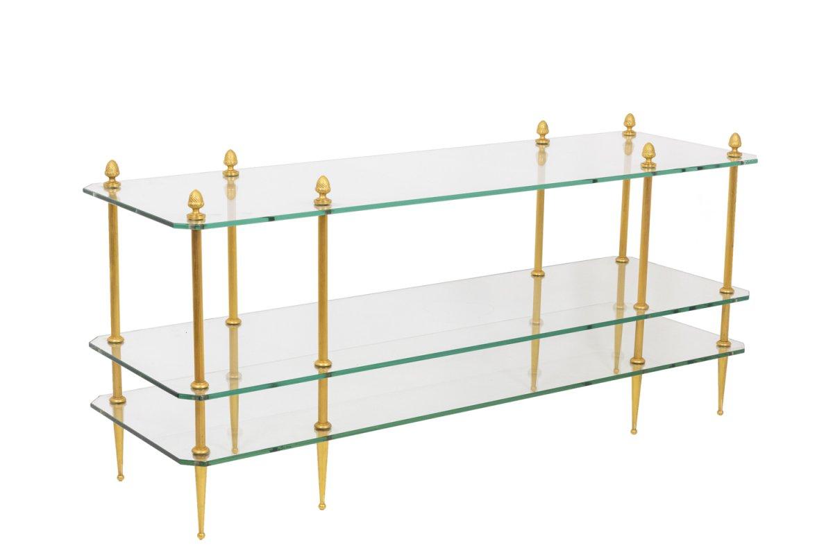 Table Basse En Bronze Doré à Trois Plateaux En Verre, Années 1970 - OP130601