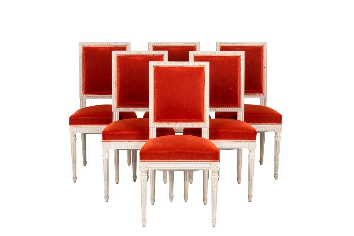 Series Of Six Louis XVI Style Chairs In Lacquered Wood, 1950's- Ls4431501